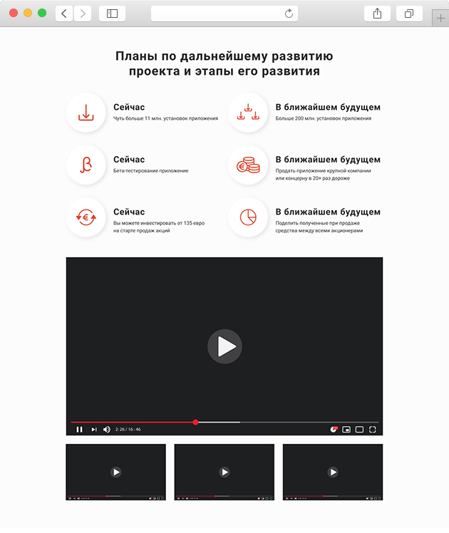 разработка сайта по продаже акций мессенджера планы развития